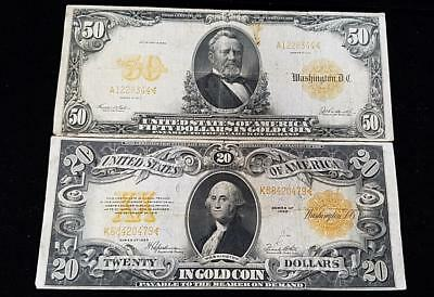 1913 $50 & 1922 $20 GOLD Certificate (RC4159)
