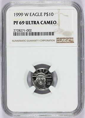 1999-W U.S. $10 Platinum Eagle 1/10 oz Proof Coin - NGC PF 69 UCAM