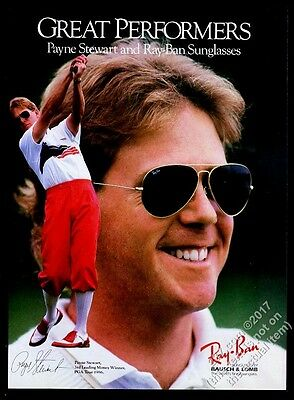 1988 Payne Stewart photo Ray Ban sunglasses vintage print ad
