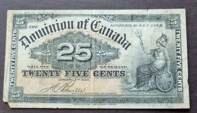 1900 Dominion Of Canada 25 Cents Bank Note, Circulated Condition, Lot#623
