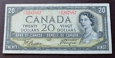 1954 Devils Face Bank Of Canada $20 Dollar Note, Circulated Condition, Lot#630