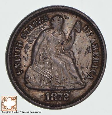 1872 Seated Liberty Silver Half Dime *1296