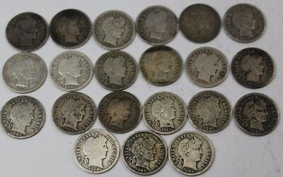 Lot of 21 Silver Barber Dimes Dated 1882 to 1916 90% Silver Item #1
