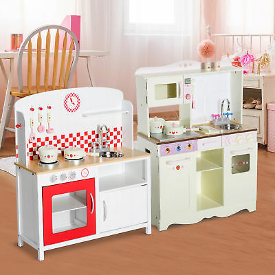 New Kids Kitchen Wooden Playset Toy Cooking Roleplay 2 Styles