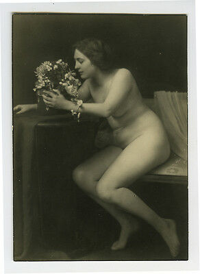 c 1920 French Nude SMELLING THE FLOWERS Lady photograph