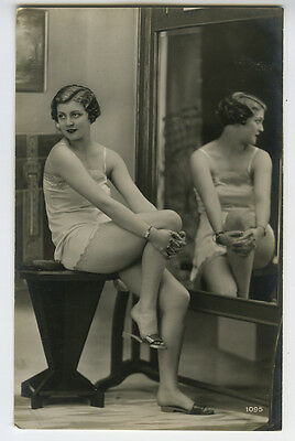 1920s Sexy Beauty risque n/ nude LINGERIE BEAUTY photo postcard