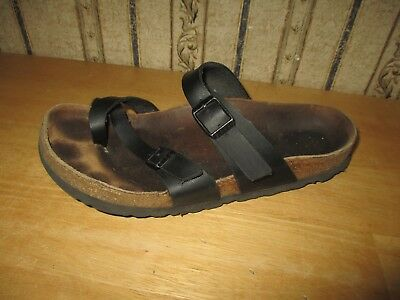 PRE-OWNED women's strappy black leather BIRKENSTOCK sandals - size 37