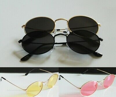 Small Lightweight Textured Wire Rim Gold Metal Frame Sunglasses with Oval Lens