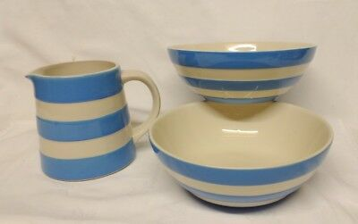 CORNISHWARE vintage 2 BOLS Céréales / Pot / T-G-Green-Blue--White / UK CERAMIQUE