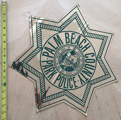 Palm Beach County Fl Park Police  Cop Car Door Decal Shield State Of Florida