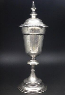 Large Antique Austrian Sterling Silver Kiddush Cup & Cover Wedding Chalice