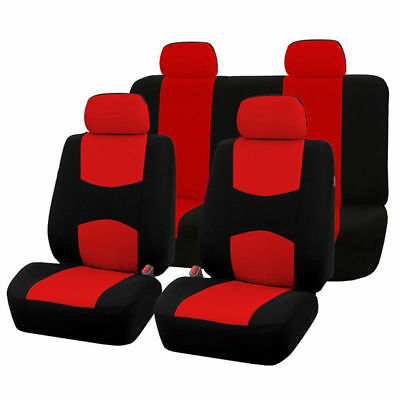 Universal Car Red Black Washable Seat Covers Air bag Full Set Front & Rear
