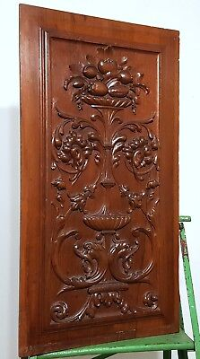 Hand Carved Wood Panel Solid Antique French Renaissance Griffin Salvaged Carving
