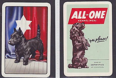 2 Dogs,Vintage Single Playing Card
