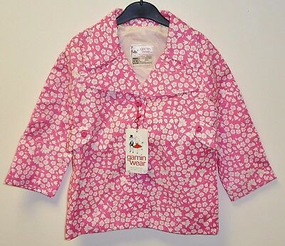 VINTAGE 1970's UNWORN GIRLS PINK & WHITE FLORAL TRENCH STYLE COAT AGE 3-4 YEARS