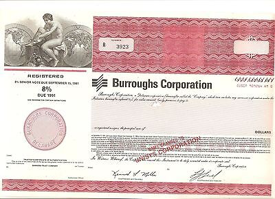 Alte Aktie USA Stock Wertpapier Burroughs Corporation