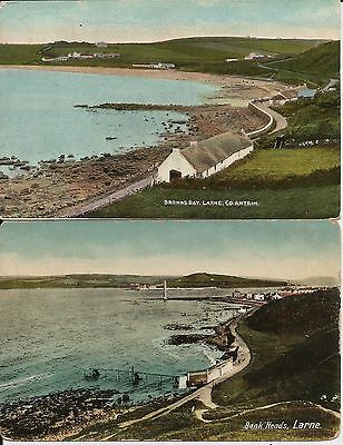 Bank Heads and Brown's Bay, Larne, Co Antrim, N Ireland, on two older postcards