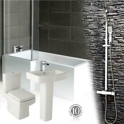 Complete Bathroom Suite L Shape ShowerBath Toilet & Sink Shower & Waterfall Taps