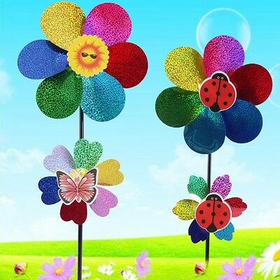 Colorful Sequins Windmill Wind Spinner DIY Home Garden Yard Decor Kids Toy New