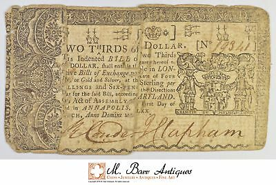 1770 2/3 Dollar Maryland Sewn Note Colonial Currency *381