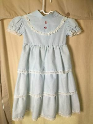 VTG 60s Tiered Baby Blue Lace Polka Dot Party DRESS 3T