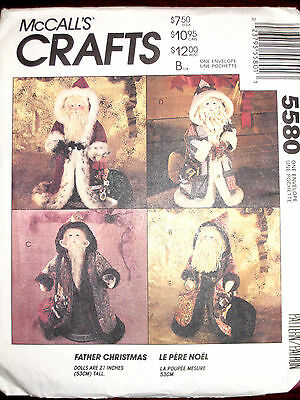 """McCalls Primitive Father Christmas Santa Claus 21"""" Doll Sewing Pattern 5580UC"""