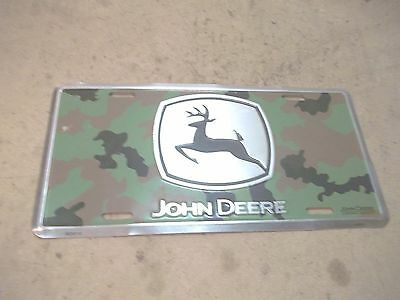Old Aluminum John Deere Camouflage License Plate Car Tag