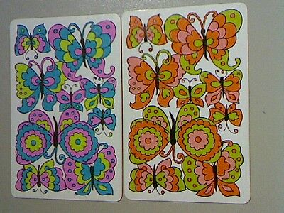 (2) Swap/Playing Cards - Pair Colourful Butterflies*