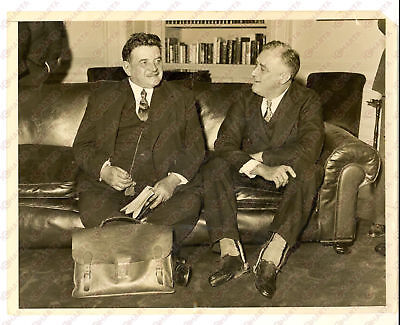 1933 WASHINGTON Edouard HERRIOT discussing with Franklin ROOSEVELT - Photo