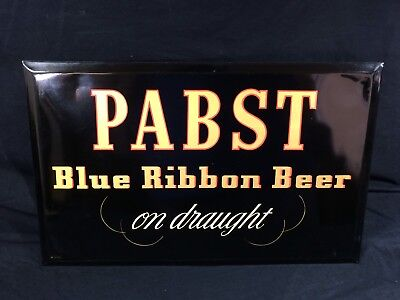 Pabst Blue Ribbon Beer Sign Tin Over Cardboard PBR Vintage