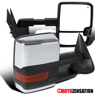 03-06 Silverado Sierra Power Heated Towing Mirrors Pair W/ LED Signal Lights