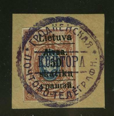 LITHUANIA Gardinas (Grodno) 1919 50sk on 15k red brown and blue, tied on small p
