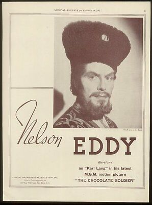 1942 Nelson Eddy photo music recital booking ad
