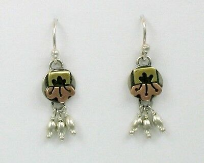 Far Fetched Sterling Silver, Brass & Copper Floral Dangles Earrings