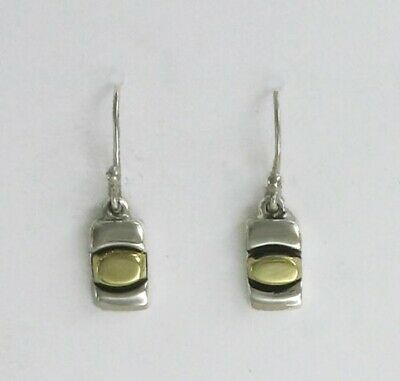Far Fetched Sterling Silver & Brass Biscuit Dangle Earrings