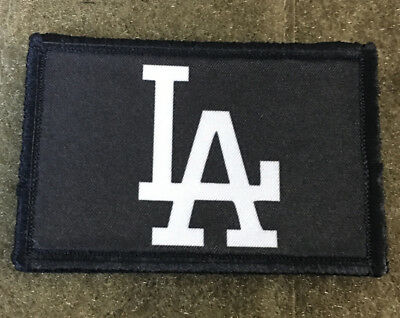 LA Dodgers Black and White Morale Patch Tactical Military Army Flag USA Hook