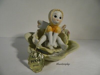 Vintage Napco March Fairy Pixie of the Month Bisque Figurine Daffodil Flower