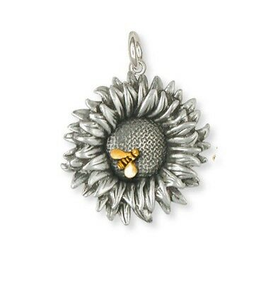 Sterling Silver Sunflower Charm Jewelry Gold Bee