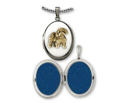 Lhasa Apso Photo Locket Sterling Silver And Gold Dog Jewelry LSZ27-VT