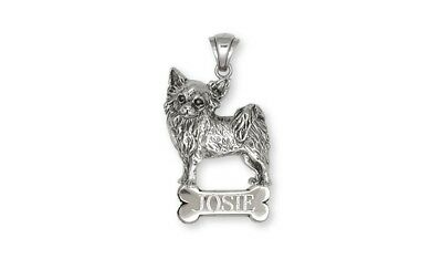 Long Hair Chihuahua Jewelry Silver Chihuahua Personalized Pendant CH55-NP