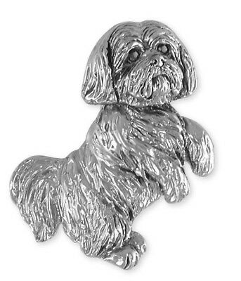 Solid Sterling Silver Lhasa Apso Slide Pendant Jewelry  LSZ19