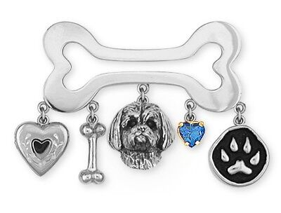 Lhasa Apso Brooch Pin Handmade Sterling Silver Dog Jewelry LSZ4-PN