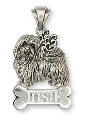 Havanese Angel Personalized Pendant Handmade Sterling Silver Dog Jewelry HV1A-NP