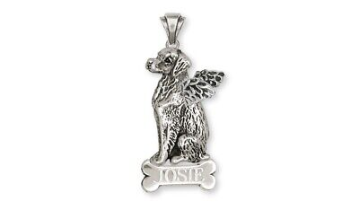 Brittany Angel Dog Personalized Pendant Sterling Silver Dog Jewelry BR2-ANP