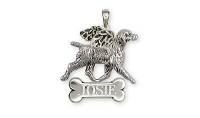 Brittany Angel Dog Personalized Pendant Sterling Silver Dog Jewelry BR6-ANP