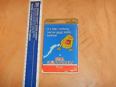 Vintage, Original 1986 Real Ghostbusters 8 Party Invitations, New Old Stock