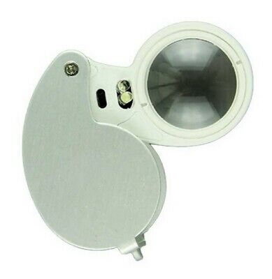 LED Illuminated Jewellers Jewellery Loupe Magnifying Glass Eye Lens 40 x 25mm
