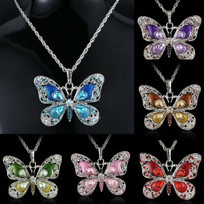 Fashion Crystal Butterfly Animal Chain Pendant Necklace Women Jewelry Xmas Gift
