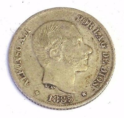 1885 Philippines 10 Centimos, Spanish Empire silver coin, VF