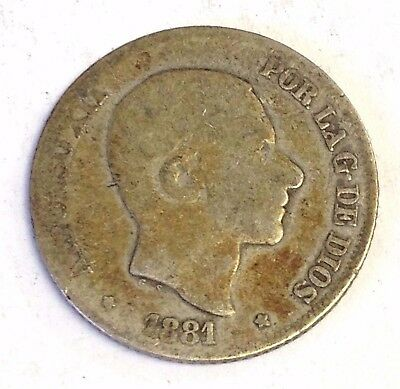 1881 Philippines 10 Centimos, Spanish Empire silver coin, Rare date